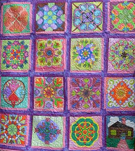 J_Unghire_Painted Quilt w_Assorted Panels_64x57ink on quilted cotton